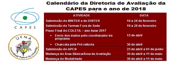 Calendário Capes 2018