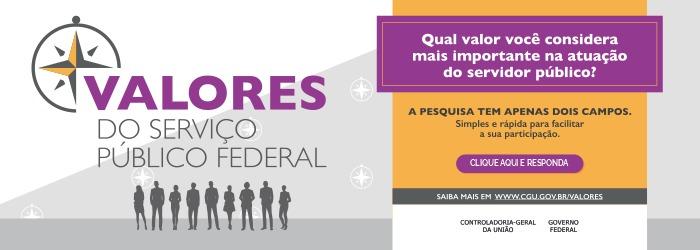 Pesquisa com todos os servidores públicos federais para a escolha dos novos valores da Administração Pública