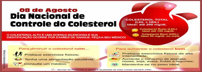 08 DE AGOSTO – DIA NACIONAL DO CONTROLE DO COLESTEROL