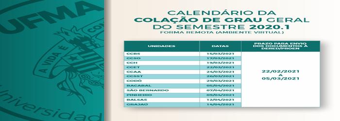 Proen divulga calendário das colações de grau 2020.1