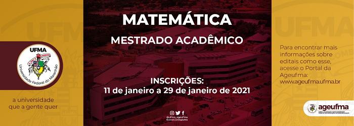 Programa de Pós-Graduação em Matemática da UFMA abre inscrições para Mestrado