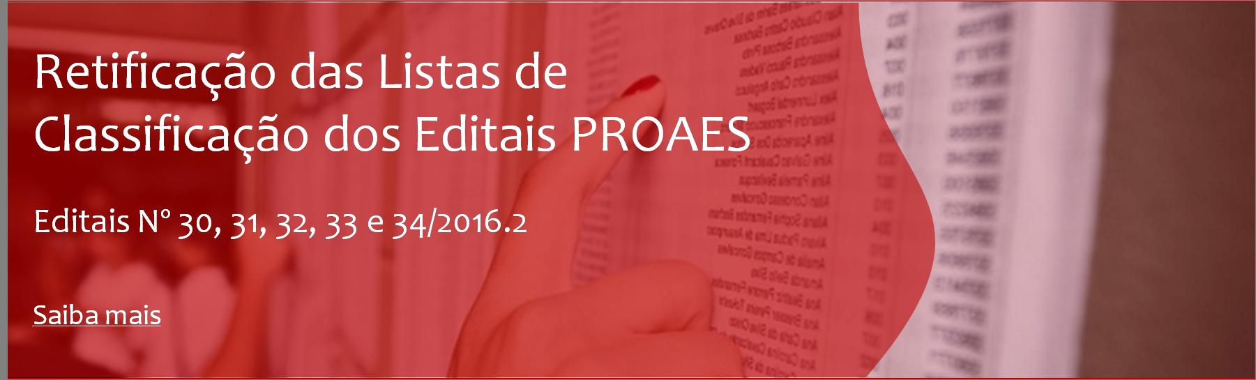Retificação das Listas de Classificação dos Editais PROAES Nº 30, 31, 32, 33 e 34/2016.2