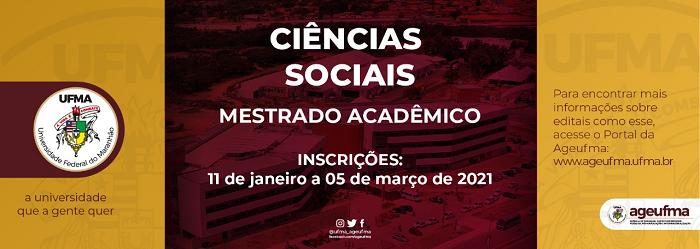 Inscrições para Curso de Mestrado em Ciências Sociais vão até março de 2021