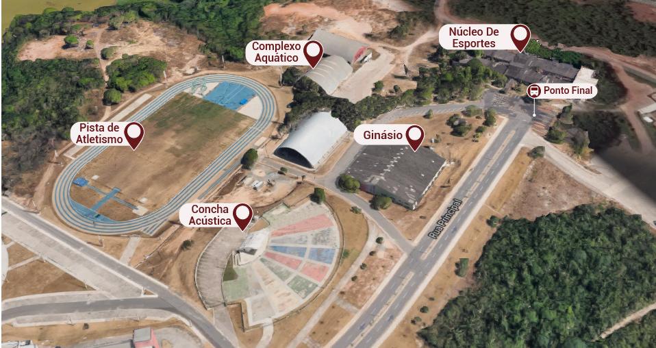 Concha Acústica, Pista de Atletismo, Ginásio, Complexo Aquático, Núcleo de Esportes, Ponto Final.