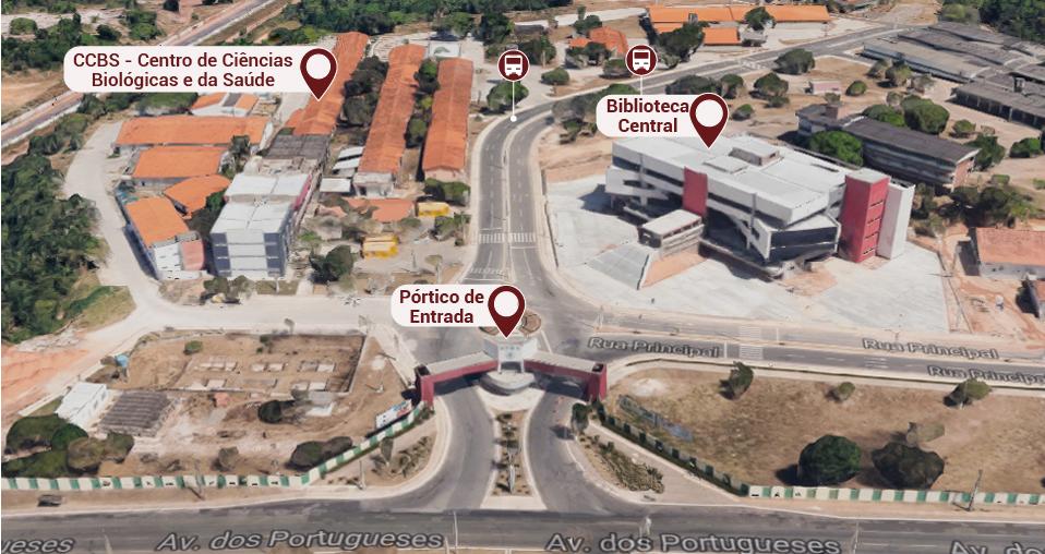 Pórtico de entrada, prédio da Biblioteca Central, CCBS (Centro de Ciências Biológicas e da Saúde) e dois pontos de ônibus.