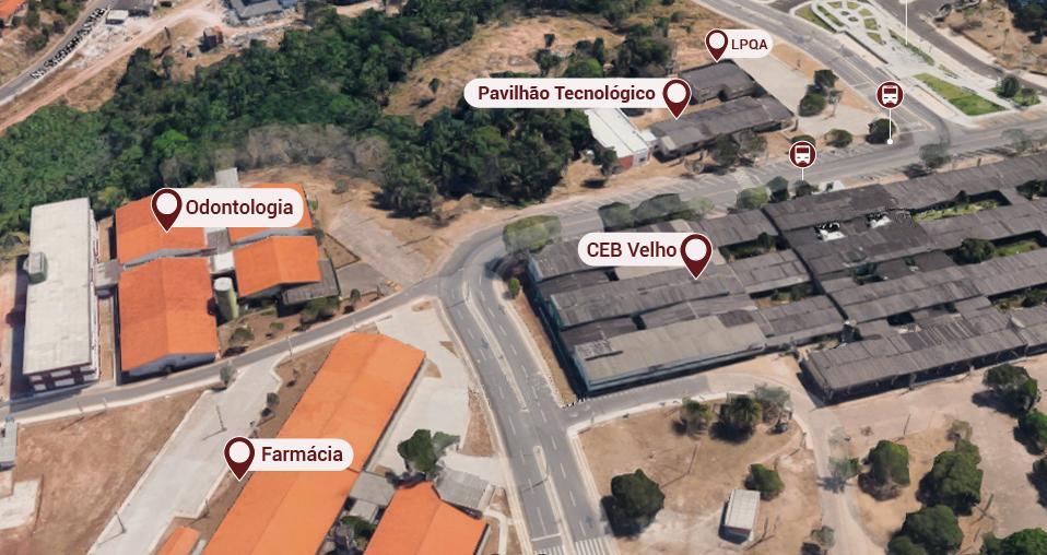 Prédio de Farmácia, odontologia, Ceb velho, Pavilhão tecnológico, LPQA e pontos de ônibus.