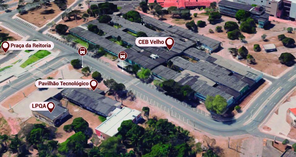 Ceb velho, Pavilhão tecnológico, LPQA, Praça da reitoria.